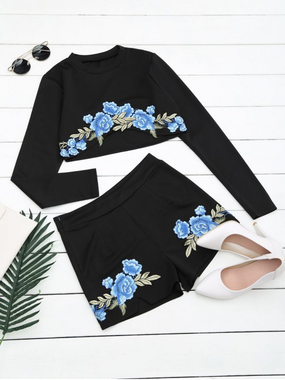 online Floral Patched Top and Shorts Set - BLACK XL