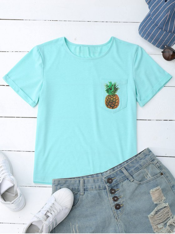 online Pineapple Cotton T-Shirt with Pocket - LIGHT BLUE S