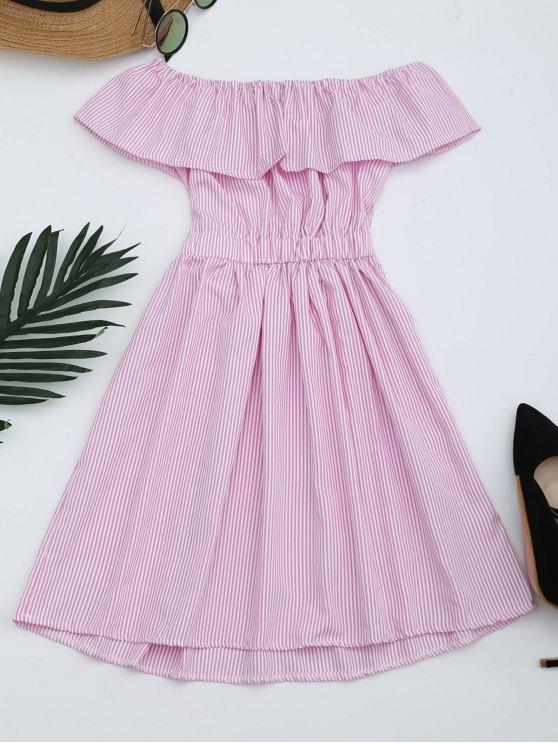 Abierto de espalda rayado el vestido de hombro - Rosa XL