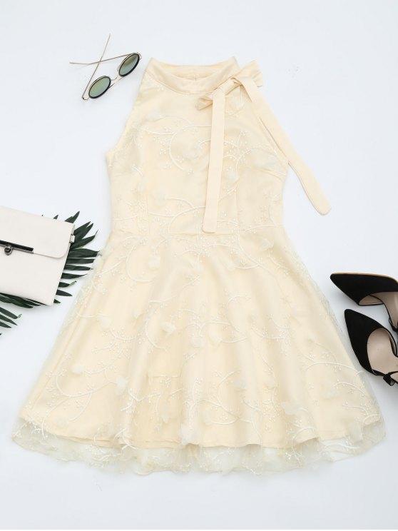 trendy Mesh Panel Bowknot Embellished Flare Dress - APRICOT M