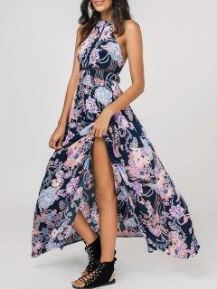 High Slit Floral Bowknot Maxi Dress - Floral M