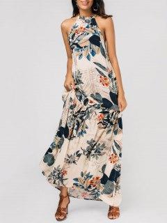 فستان بلا اكتاف طباعة الأوراق ماكسي - الأزهار M