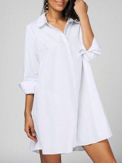 Casual Long Sleeve Shirt Dress - White