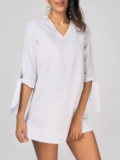 غير مزخرف V فستان متعادل الأكمام الرقبة - أبيض Xl