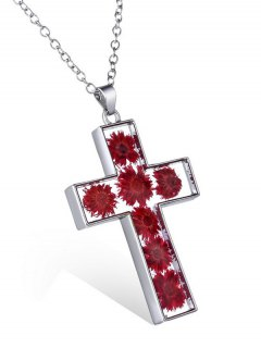Dried Flower Inlay Cross Pendant Necklace - Red