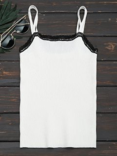 Heart Lace Hem Ribbed Cami Top - White