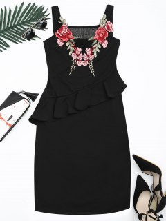 Floral Patched Ruffle Hem Bodycon Dress - Black Xl