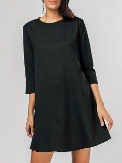 فستان مريح ثقب المفتاح سوينغ مصغر - أسود Xl