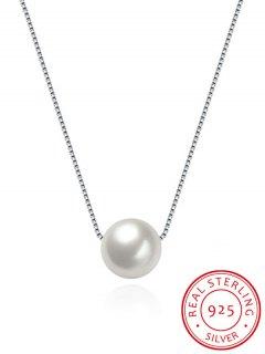 Artificial Pearl Collarbone Silver Necklace - Silver