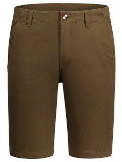 Zip Fly Pocket Cotton Chino Shorts - Brown 36