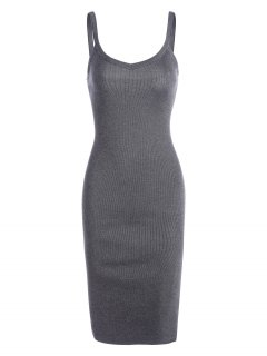 Side Slit Knitted Cami Sheath Dress - Gray
