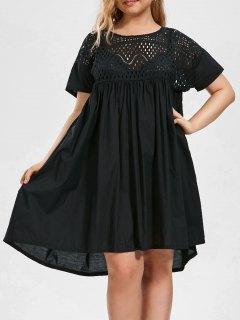 Plus Size Hollow Out Chiffon Trapeze Dress - Black 4xl
