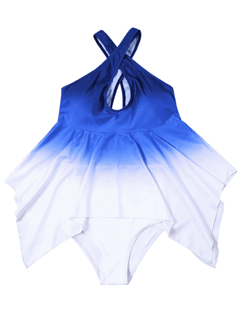 online Ombre Plus Size Convertible Asymmetrical Tankini Set - BLUE AND WHITE 5XL Mobile