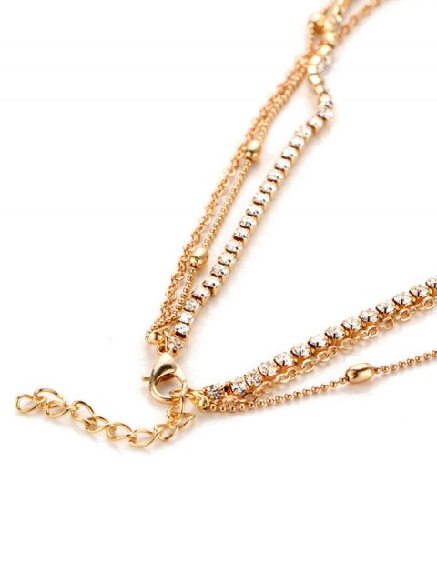 new Layered Rhinestone Faux Pearl Necklace - GOLDEN  Mobile