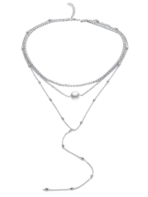 hot Layered Rhinestone Faux Pearl Necklace - SILVER  Mobile