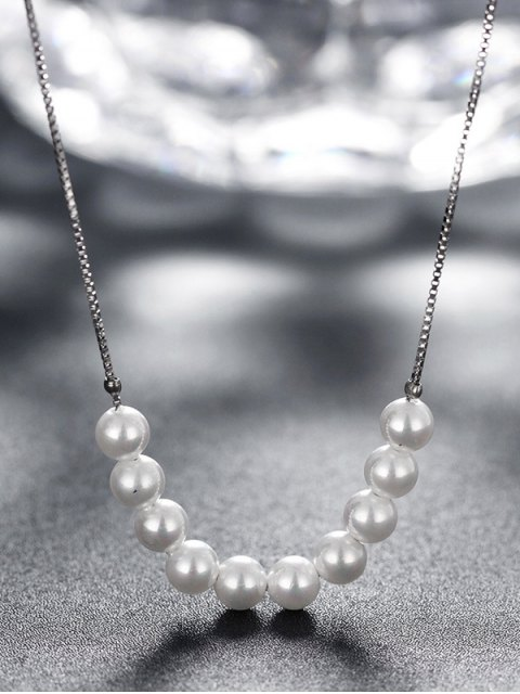 outfit Faux Pearl 925 Silver Collarbone Necklace - SILVER  Mobile