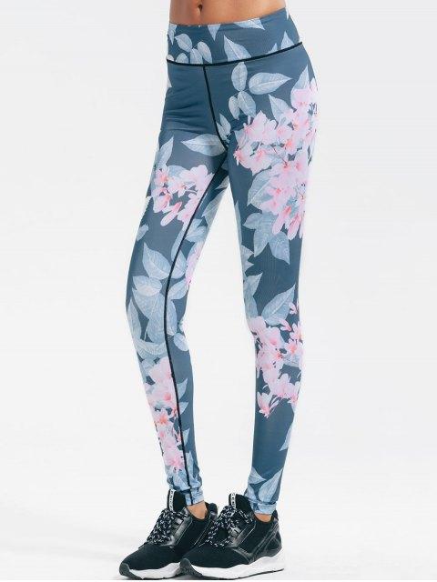 hot Floral Stretchy Yoga Leggings - FLORAL S Mobile