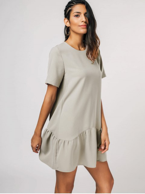 shops Ruffle Hem Mini Shift Dress - KHAKI XL Mobile