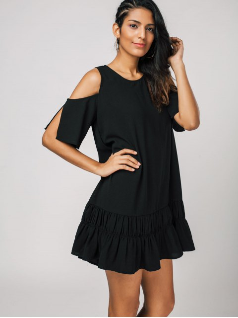 ladies Cold Shoulder Flared Shift Dress - BLACK XL Mobile