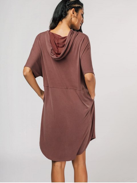 lady Oversized Pullover Midi Hoodie Dress - LATERITE ONE SIZE Mobile