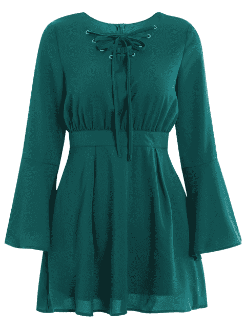 women's Lace Up Bell Sleeve Skater Dress - GREEN 2XL Mobile