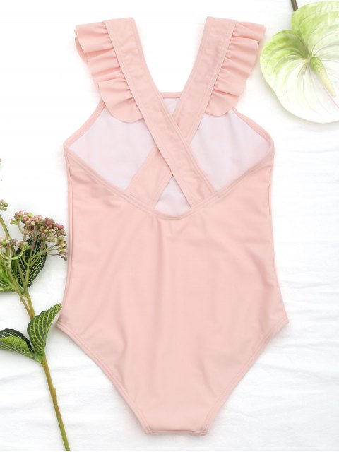 women's Square Neck Frilled Girls Swimwear - ORANGEPINK 5T Mobile