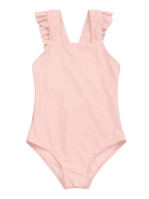 ladies Square Neck Frilled Girls Swimwear - ORANGEPINK 6T Mobile
