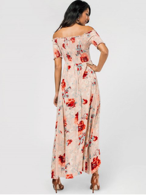 buy Floral Off Shoulder Asymmetric Maxi Smocked Dress - FLORAL M Mobile