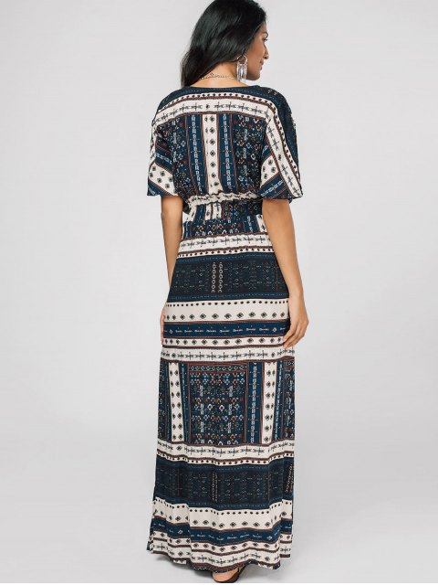 outfit Belted Tribal Print Slit Maxi Dress - MULTI S Mobile