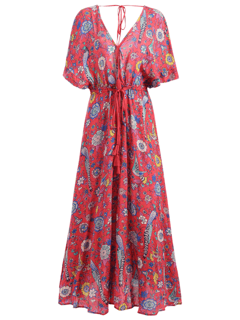 affordable Patterned Plunging Neck Tied Drawstring Maxi Dress - RED M Mobile
