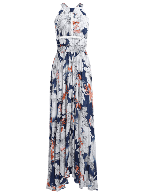 outfits Bowknot Floral Cut Out Maxi Dress - FLORAL M Mobile