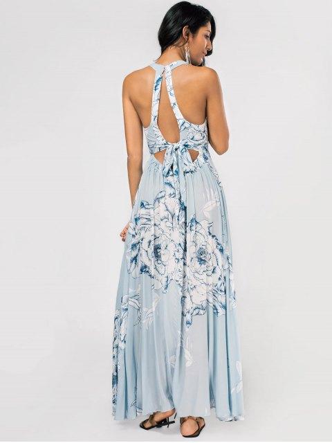 unique Floral High Slit Back Cutout Tied Maxi Dress - LIGHT BLUE M Mobile