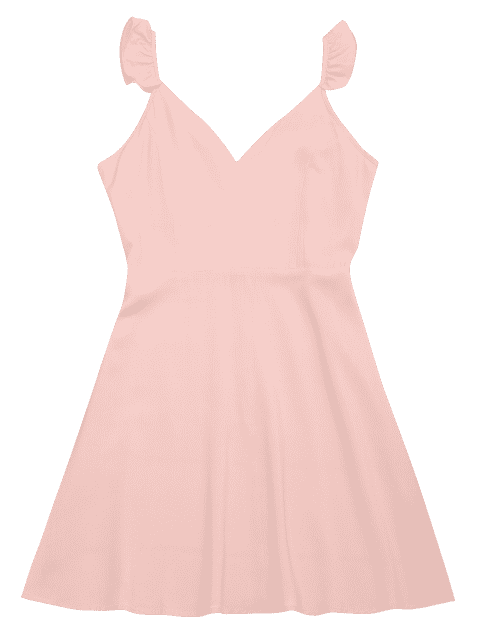 fancy V Shaped Back Ruffled Strap Flare Dress - PINK S Mobile