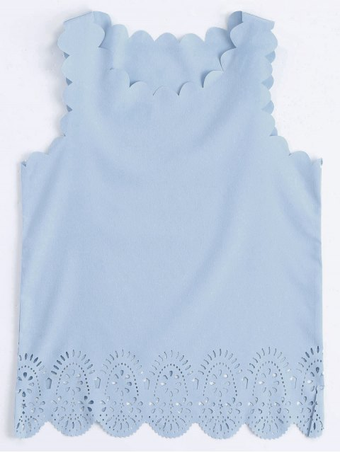 hot Scalloped Hem Hollow Out Tank Top - LIGHT BLUE S Mobile