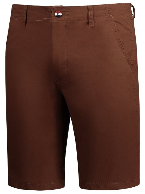 fashion Casual Zip Fly Plain Chino Shorts - BRICK-RED 34 Mobile