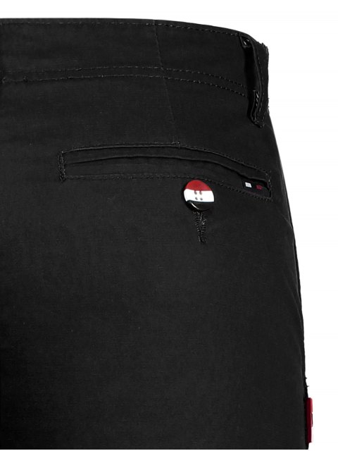 womens Casual Zip Fly Cotton Chino Shorts - BLACK 32 Mobile