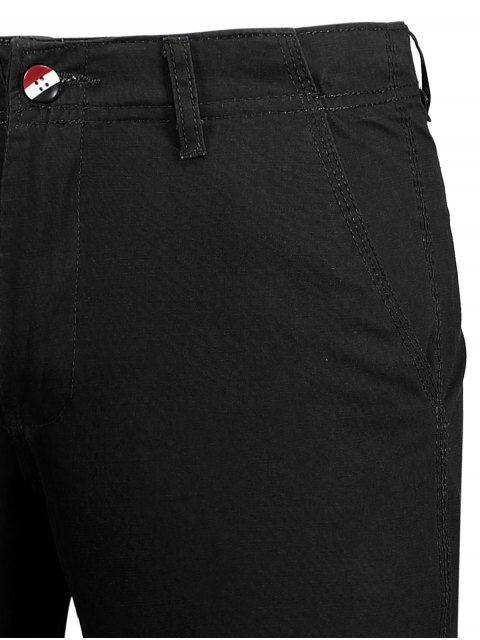 women Casual Zip Fly Cotton Chino Shorts - BLACK 34 Mobile