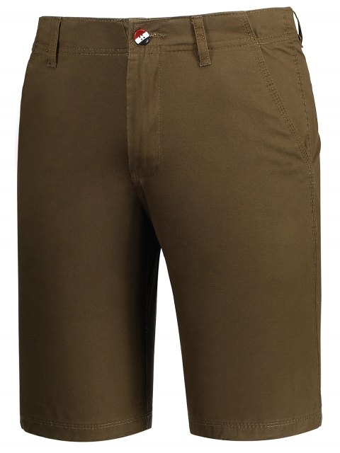 ladies Zip Fly Pocket Cotton Chino Shorts - BROWN 30 Mobile