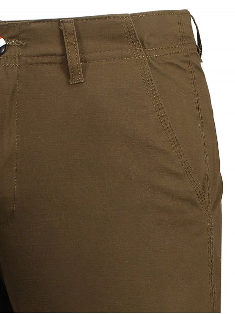 lady Zip Fly Pocket Cotton Chino Shorts - BROWN 32 Mobile