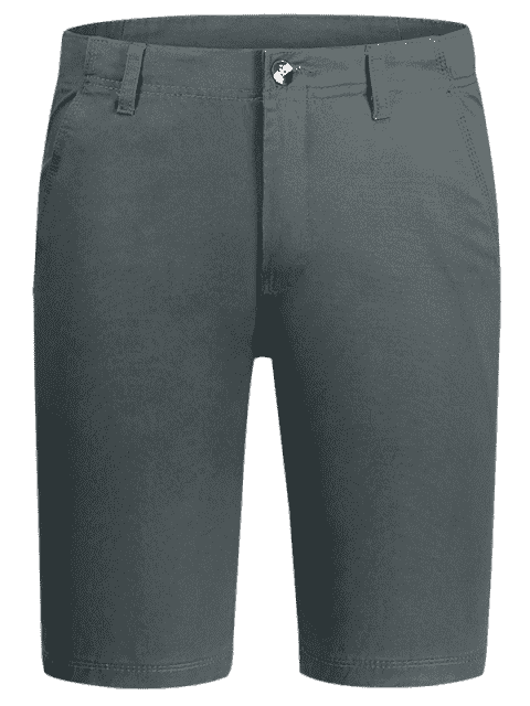 latest Zip Fly Plain Chino Shorts - GRAY 34 Mobile