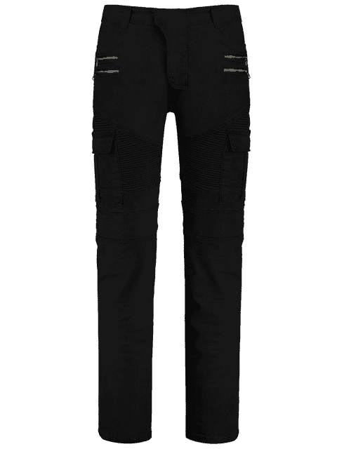 fancy Zips Cargo Pants with Multi Pockets - BLACK 3XL Mobile