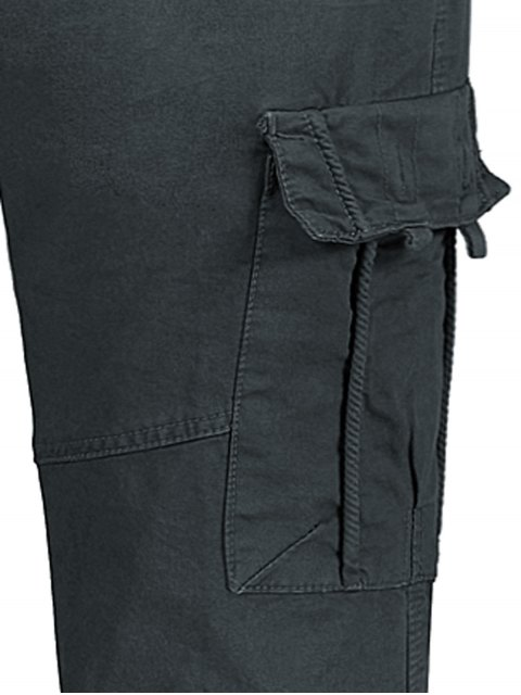 women's Straight Cargo Pants with Flap Pockets - GRAY 34 Mobile