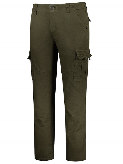 online Flap Pockets Zip Fly Straight Cargo Pants - OLIVE GREEN 34 Mobile