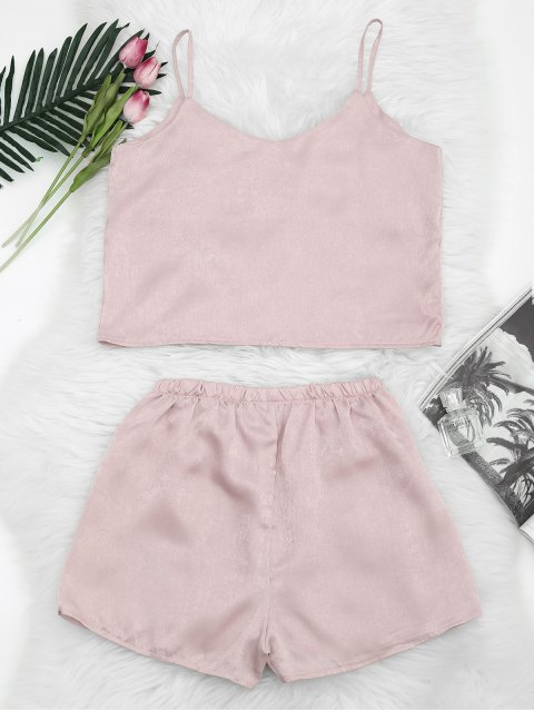 best Floral Patched Cami Top and Shorts Set - LIGHT PINK S Mobile