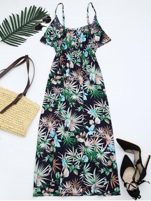online Leaves Print Flounce Bohemian Cami Dress - MULTI ONE SIZE Mobile