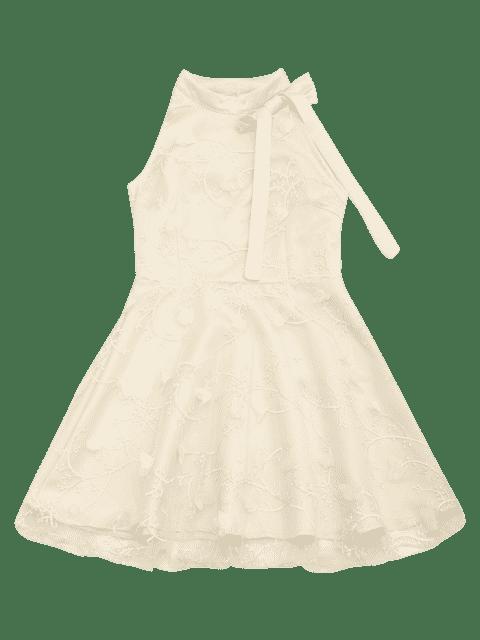 shops Mesh Panel Bowknot Embellished Flare Dress - APRICOT L Mobile