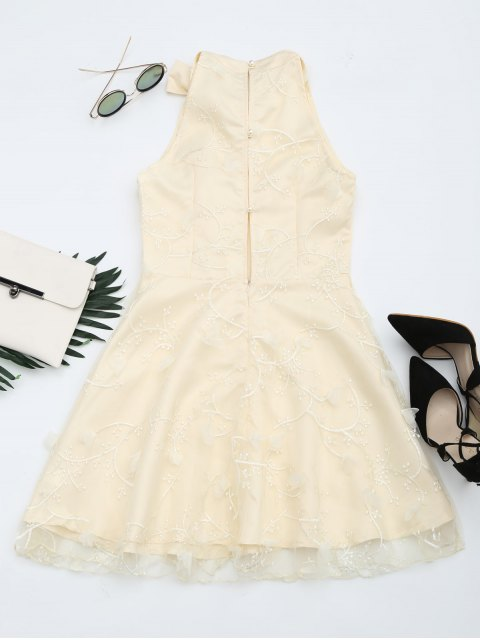 chic Mesh Panel Bowknot Embellished Flare Dress - APRICOT S Mobile
