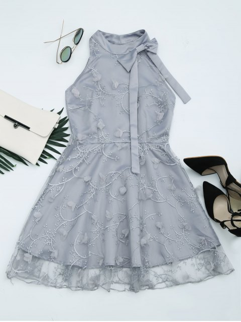fancy Mesh Panel Bowknot Embellished Flare Dress - GRAY S Mobile