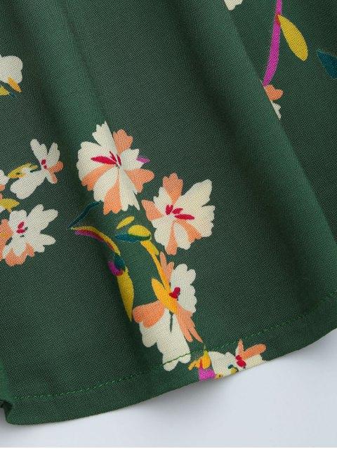 lady V Neck Floral Print Flared Dress - GREEN S Mobile