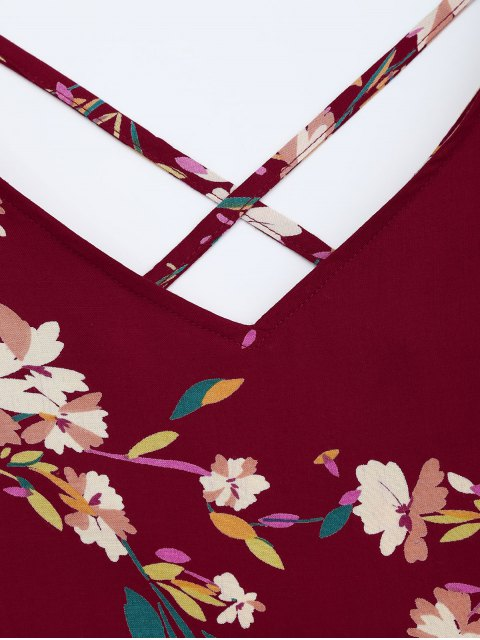 shop V Neck Floral Print Flared Dress - BURGUNDY S Mobile